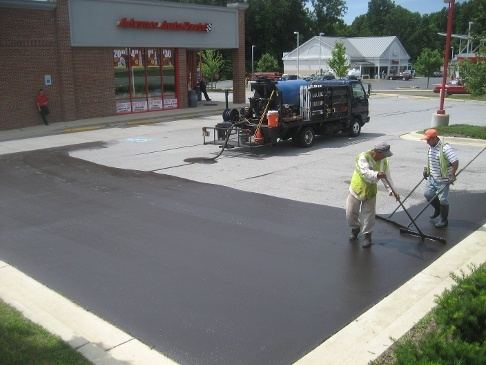 tar emulsion sealcoating pavement