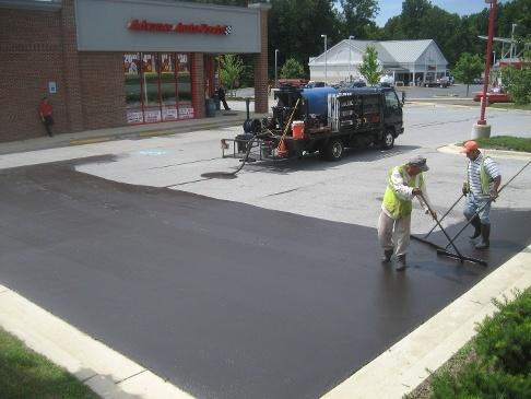tar emulsion sealcoating pavement